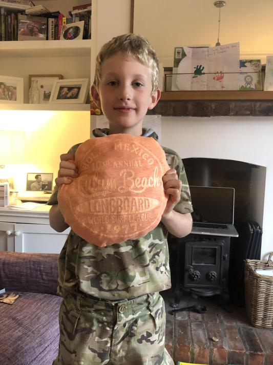 CJ (2N) has made a cushion from an old t-shirt