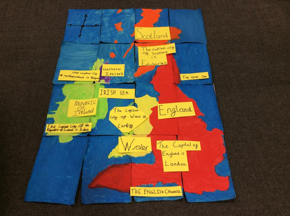 The completed collage of The British Isles