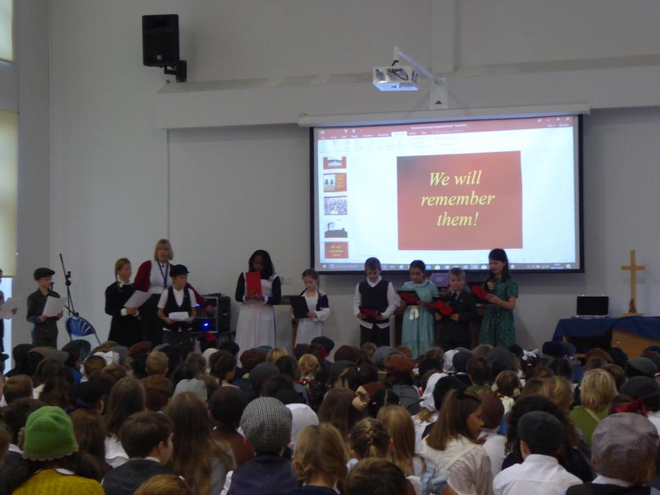 Morning assembly - well done to our Y6 poets