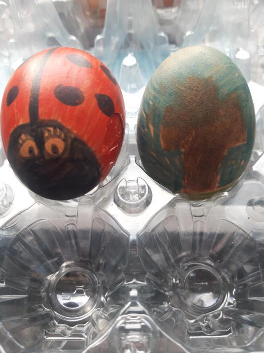 We decorated eggs