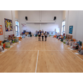 We sorted the donations into different groups in the hall