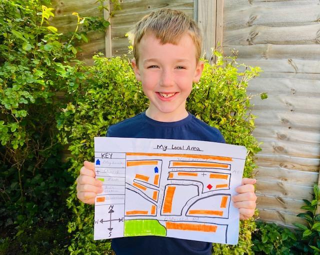 JL (2C) has drawn a map of his local area