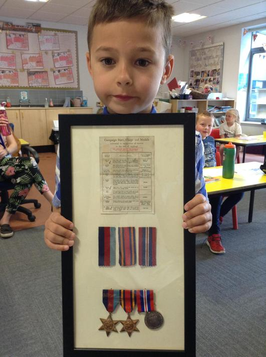 Henry showed his great grandfathers medals