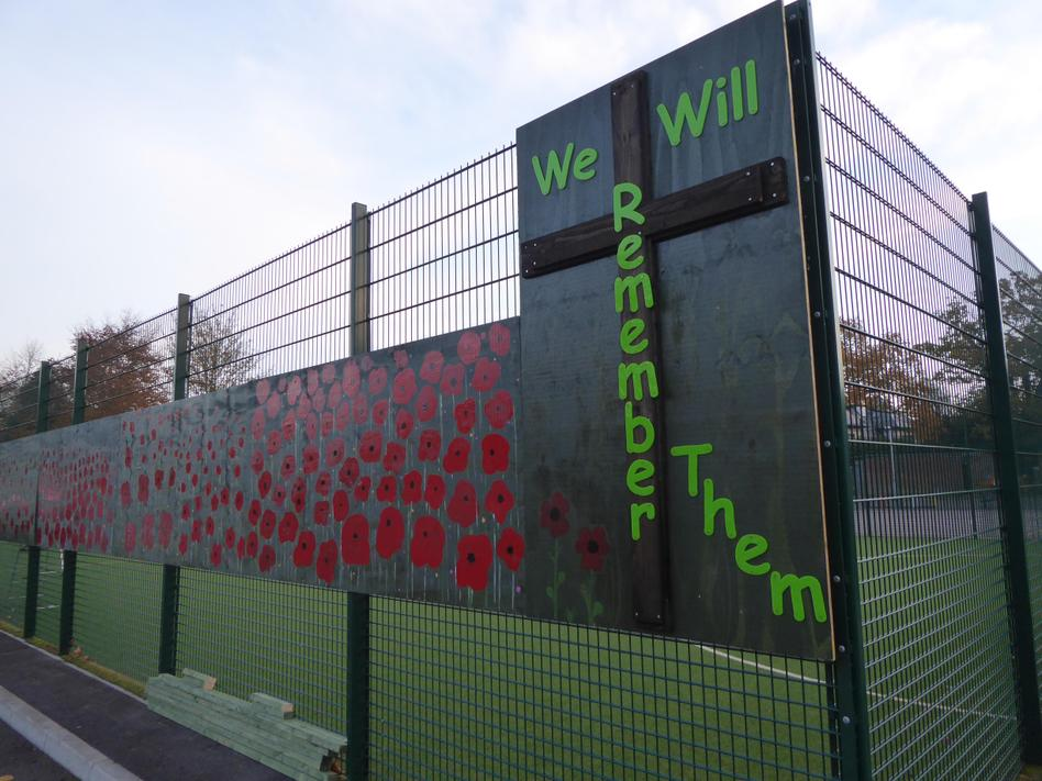'The Poppy Fields' at the front of school
