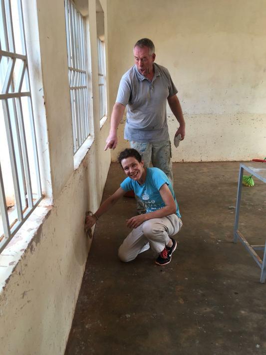 Mrs Horner renovating a classroom