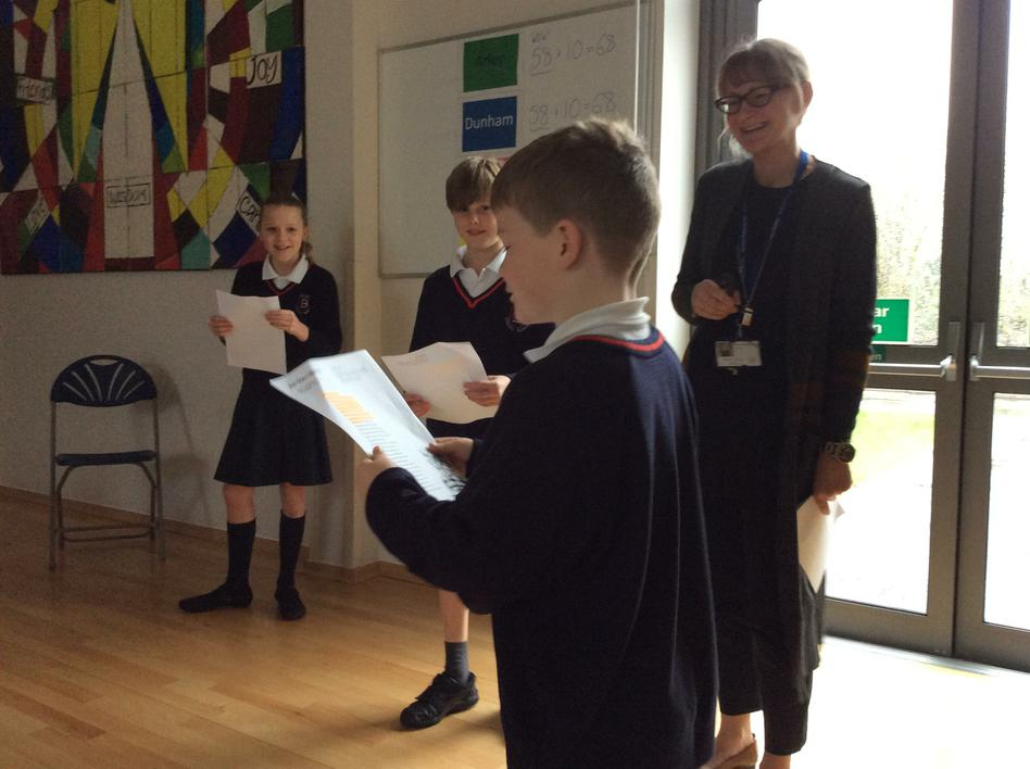 Mrs Thompson leads a KS2 assembly