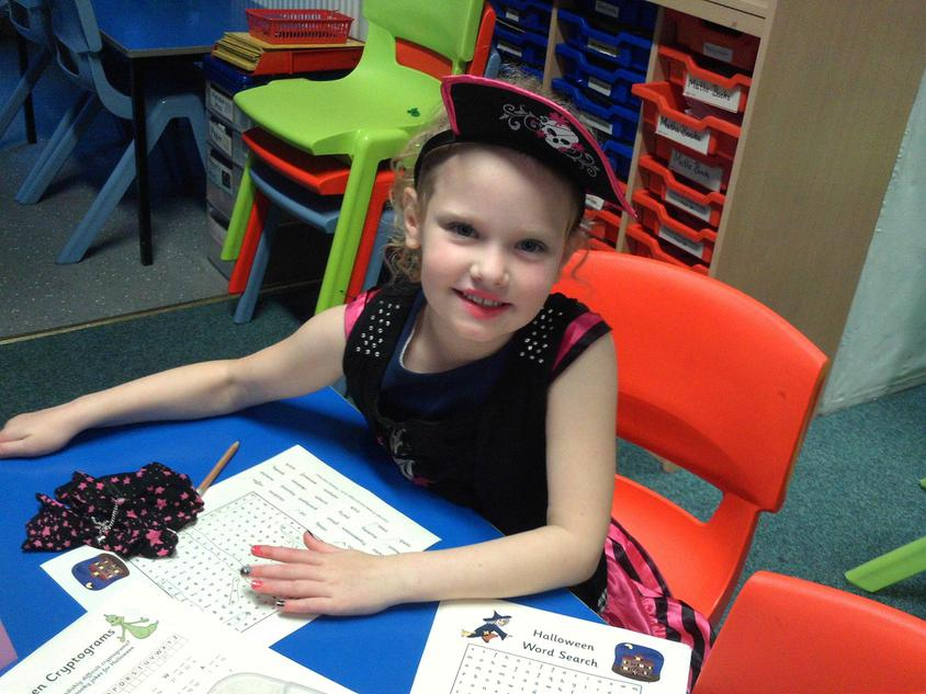 Jasmine completed the witches wordsearch.