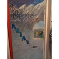 Class 4's door - Akiak - about a huskey team