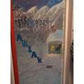 Class 4's door - Akiak - about a huskey team