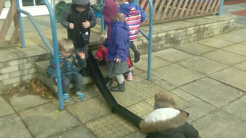 The children worked together to create a game.