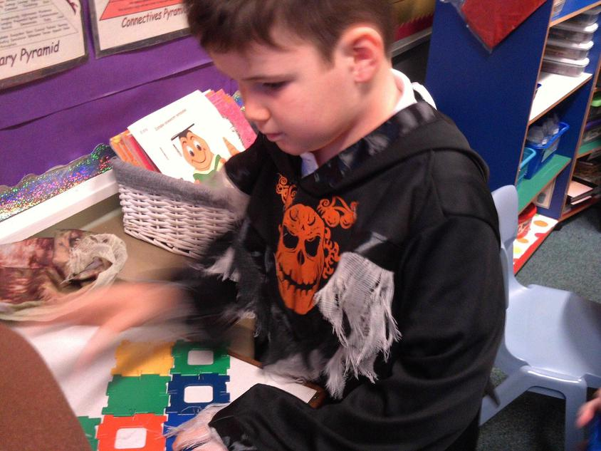 Matthew building a haunted house.