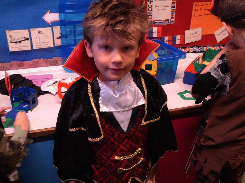 Henry worked hard on Halloween activities.