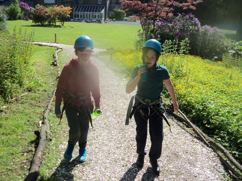 Getting ready to abseil.