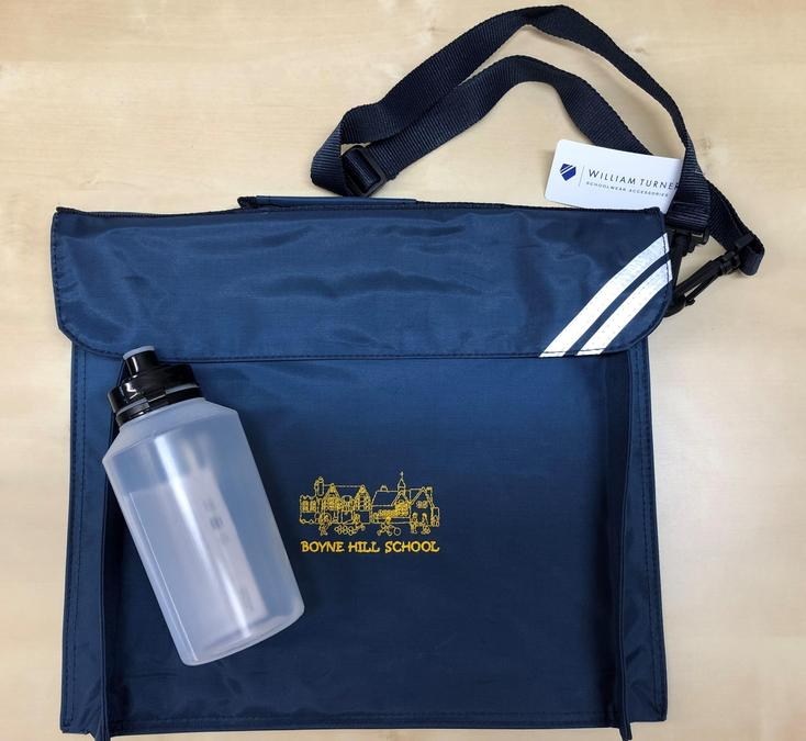 Our Book Bag and Water Bottle