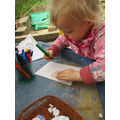 Making Easter cards.