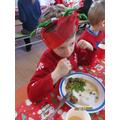 Enjoying Christmas dinner!