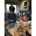 Making coleslaw!