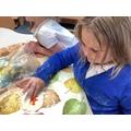 Making salt dough fossils.