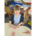 Writing our names with playdough!
