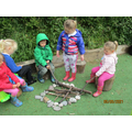 Toasting imaginary marshmallows together!