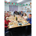 Christmas dinner in our decorated classroom