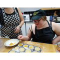 Molly filling lemon curd tarts to go with our mince pies and jam tarts