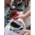 We filled our pots with compost