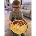 Oliver made pancakes with his dad and brother!