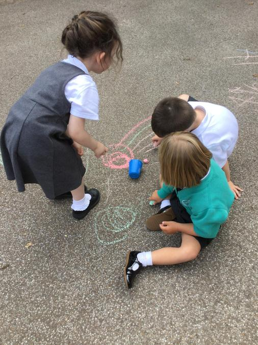 Mark making with the chalks outside!