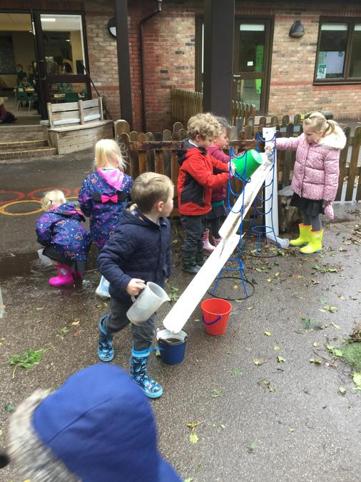 Lots of water play when it's raining!