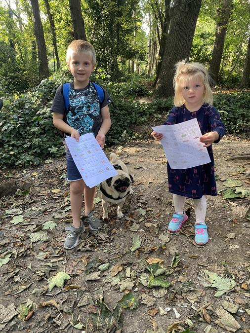 I met my friend and his sister doing their 'Scavenger Hunt' homework in the park!