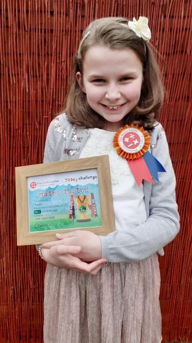 Pippa achieved a maths award - well done!