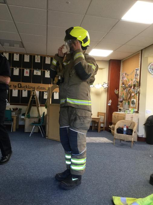 We learnt about the protective clothing a firefighter needs to keep safe!