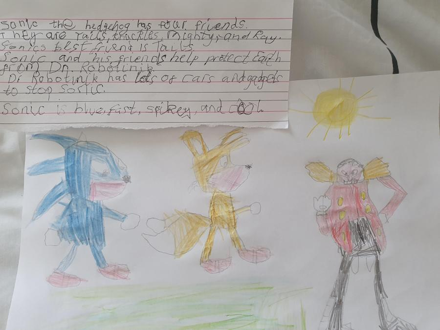 Fast and spiky! Super Sonic adjectives Milo!