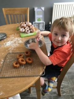 Making doughnuts, they look delicious Benji!