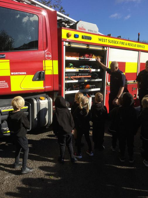 We saw two big, red fire engines!