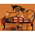 The priest would wear a mask of the god Anubis. He removes the brain through the nose!