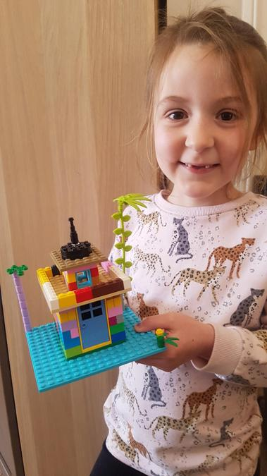 A colourful lego lighthouse.