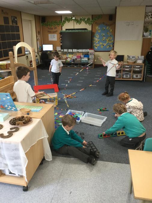Exploring our maths resources - Shapes, numicon, unifix cubes!