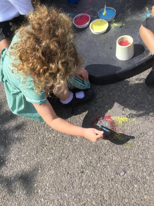 Painting on the pavement!