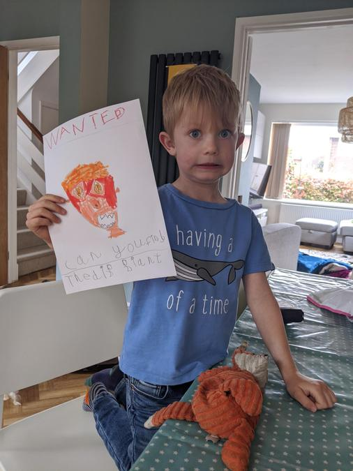 An amazing drawing of the Giant's face Ezra!