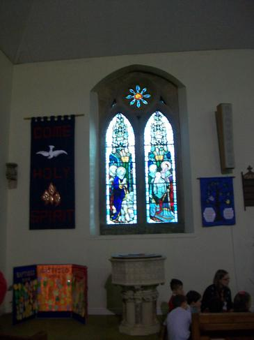 We saw beautiful stained glass windows.