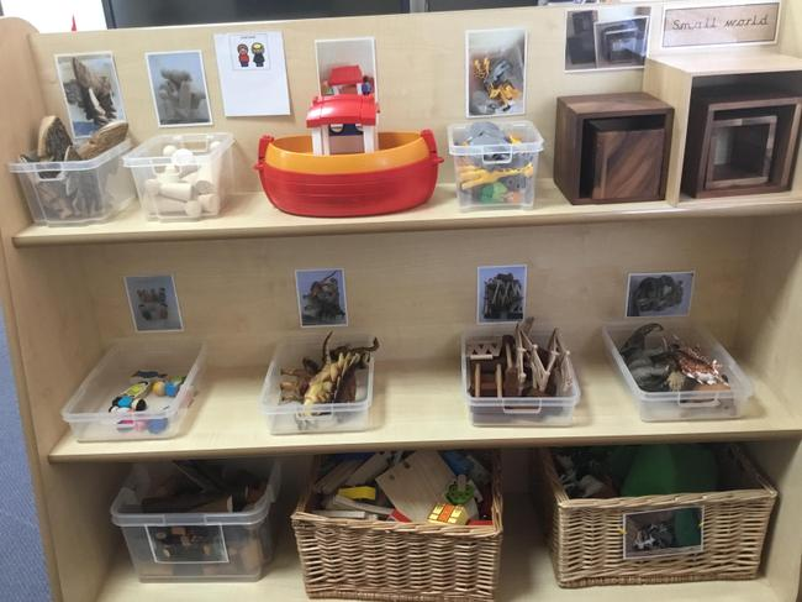 The Small World shelves