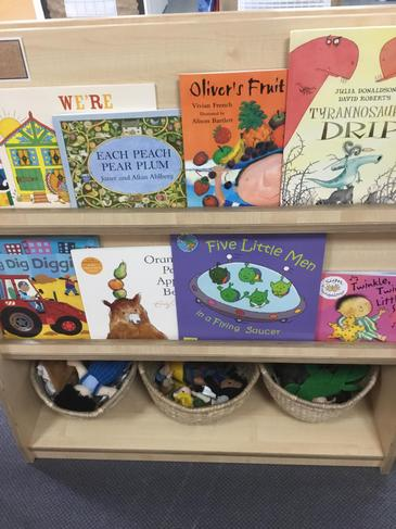 The Reading Area shelves with books and puppets