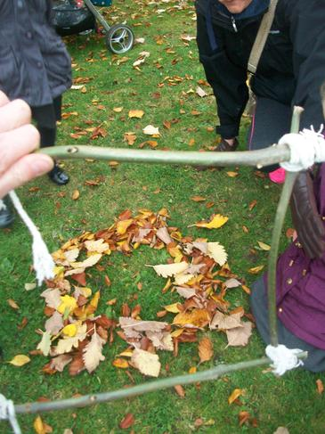 Some children made shapes with the leaves.