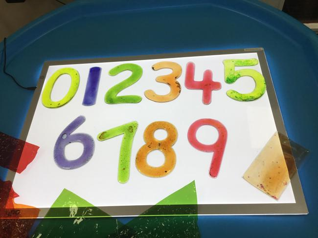 Numbers on our light box