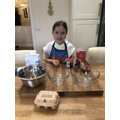 Evie ready to make her cake!