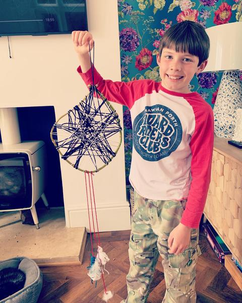 Barnaby and his dream catcher.