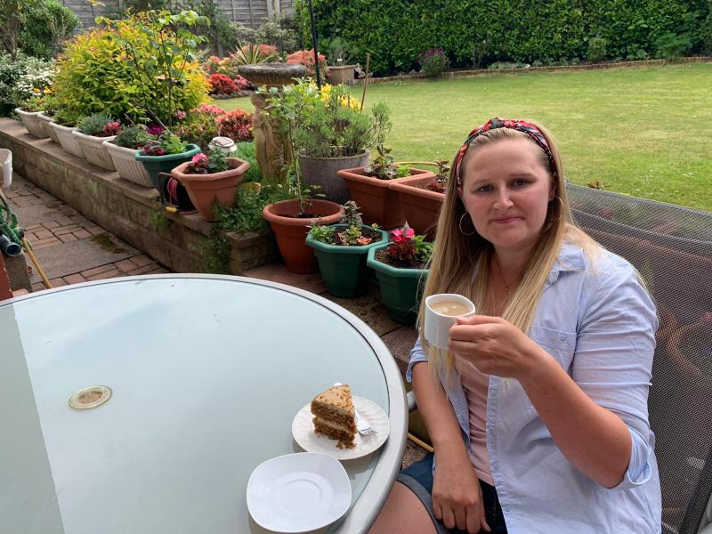 Miss Hitchman had a cup of tea and a slice of cake
