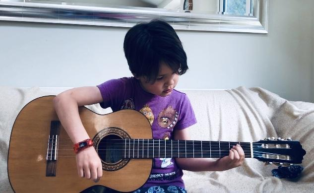 Guitar practice for Seb!